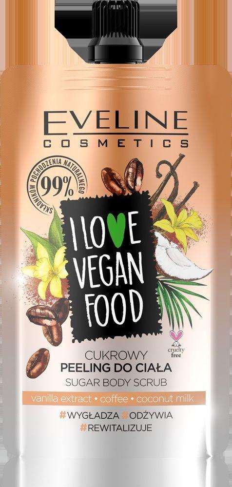 Eveline I Love Vegan Food Peeling do ciała wygładzający cukrowy Kawa 75ml 1