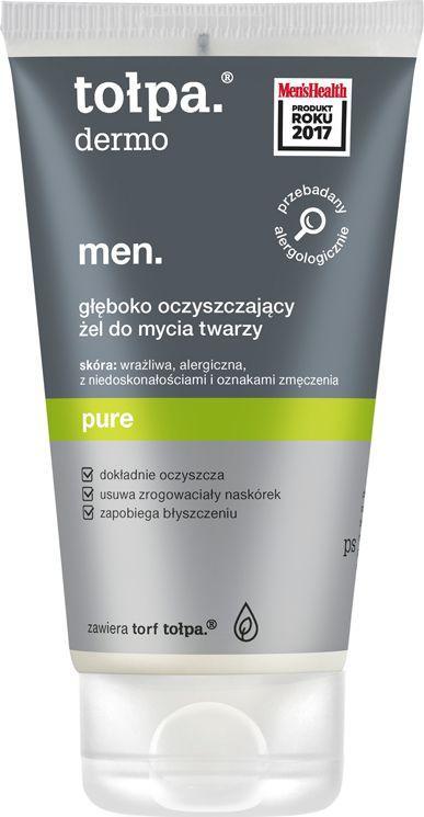 Tołpa Dermo Men. Pure, głęboko oczyszczający żel do mycia twarzy 150ml 1
