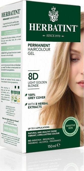 Herbatint  Trwała Farba do włosów Jasny Złoty Blond 8D 1