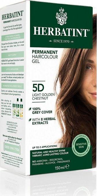 Herbatint  Trwała Farba do włosów Jasny Złoty Kasztan 5D 1
