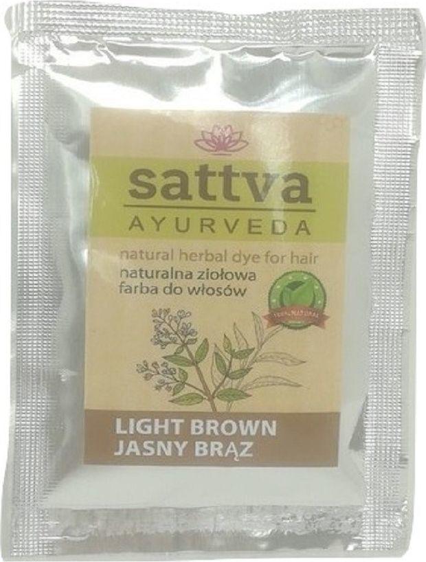 Sattva Henna do farbowania włosów Jasny Brąz Saszetka Tester  1