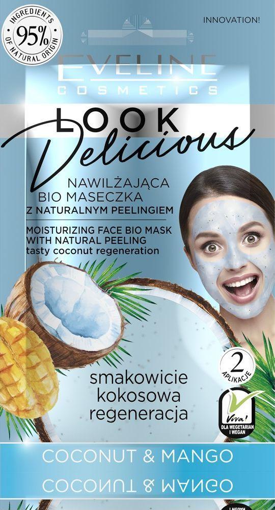 Eveline  Look Delicious Bio Maseczka z naturalnym peelingiem - Coconut & Mango  1