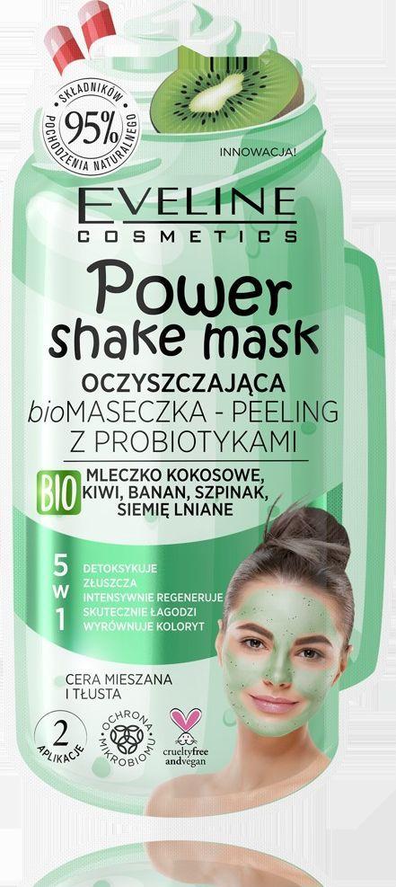Eveline Power Shake Bio Maseczka peeling z probiotykami 5w1  1