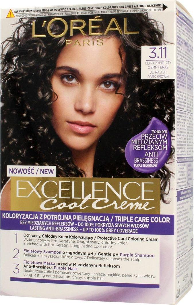L'Oreal Professionnel Krem koloryzujący do włosów Exellence 3.11 Ultra Popielaty Ciemny Brąz  1