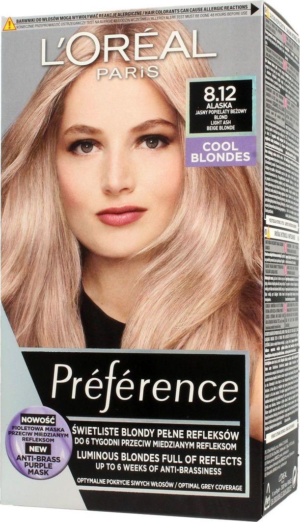 L'Oreal Professionnel Loreal Preference Farba do włosów 8.12 Alaska - Jasny Popielaty Beżowy Blond 1op. 1
