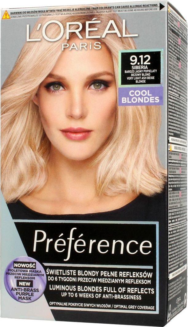 L'Oreal Professionnel Preference Farba do włosów 9.12 Siberia - Bardzo Jasny Popielaty Beżowy Blond 1op. 1
