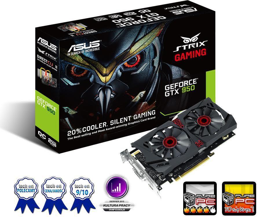 Karta graficzna Asus GeForce GTX 950 STRIX 2GB GDDR5 (128 bit) 2x DVI, HDMI, DP, Box (STRIX-GTX950-DC2OC-2GD5-GAMING) 1