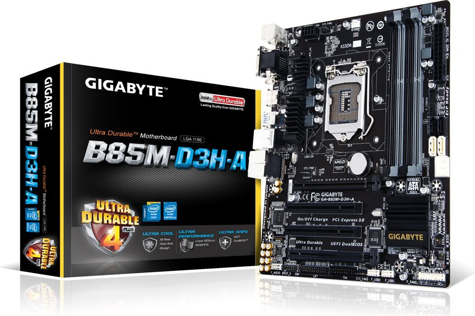 Płyta główna Gigabyte GA-B85M-D3H-A, B85, DualDDR3-1600, SATA3, HDMI, DVI, D-Sub, mATX 1