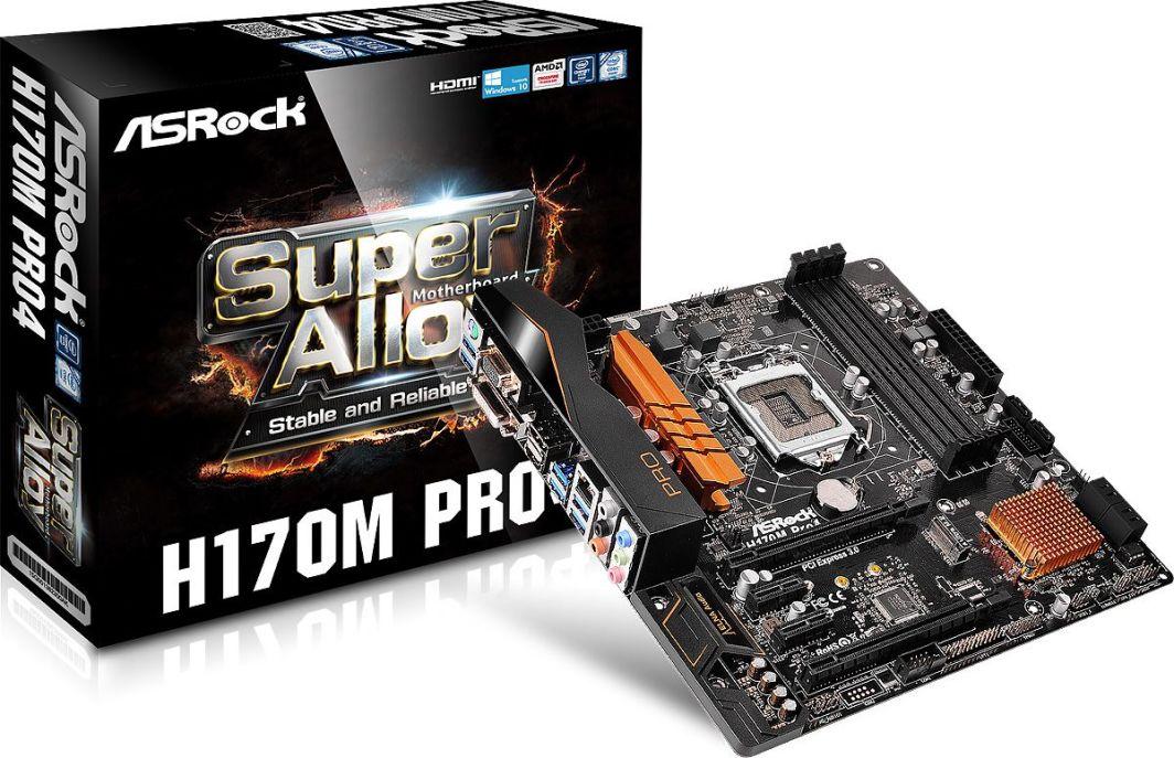 Płyta główna ASRock H170M PRO4, H170, DualDDR4-2133, SATA3, RAID, HDMI, DVI, D-Sub, mATX (H170M PRO4) 1