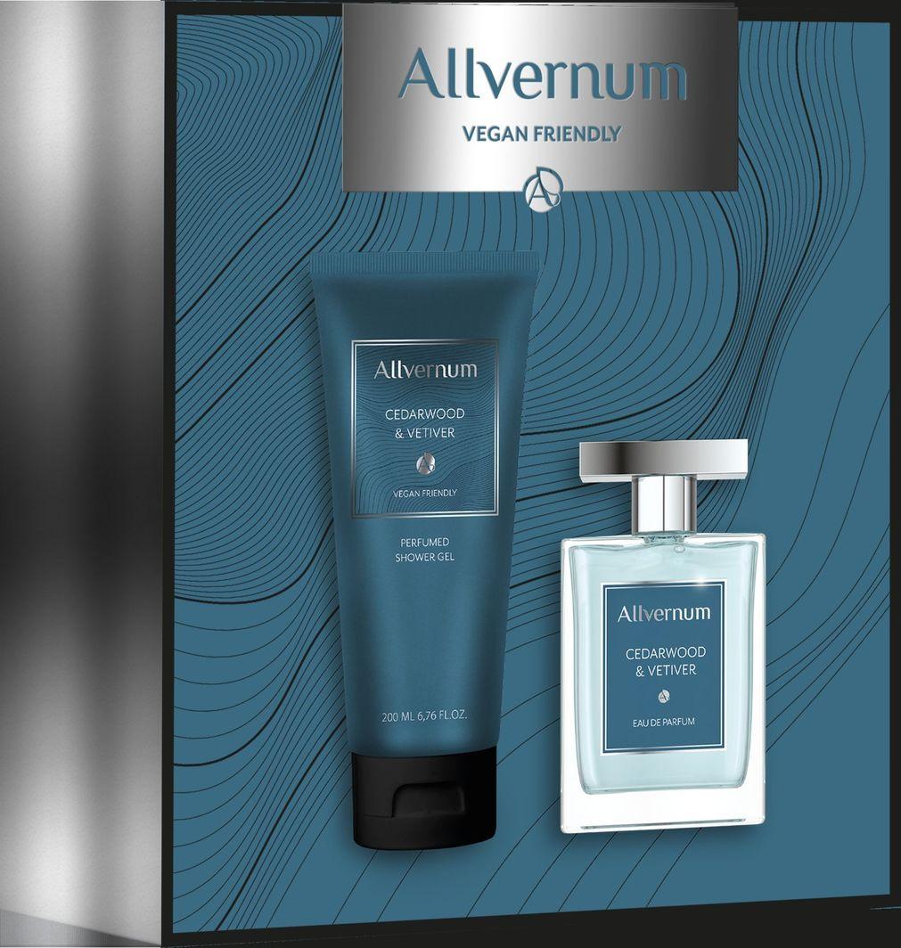 Allverne  Allvernum Men zestaw prezentowy CedarWood&Vetiwer woda perf.100ml+żel pod pr.200ml 1