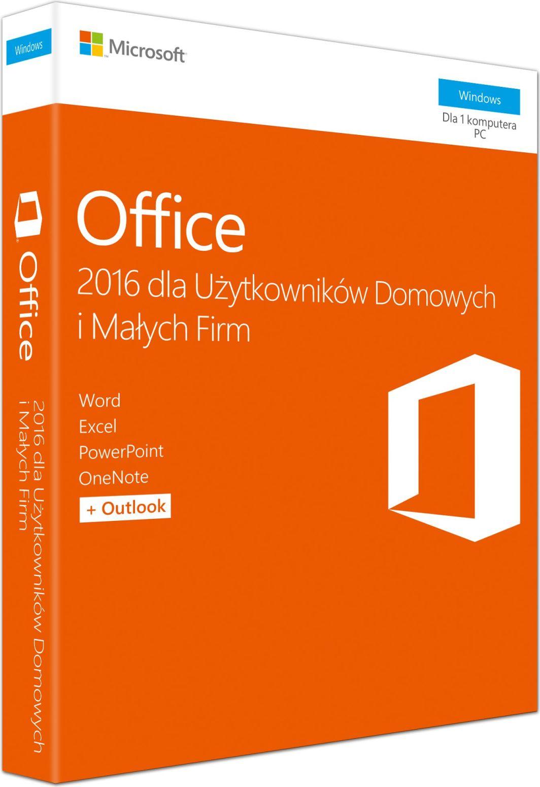 Microsoft Office 2016 dla Użytkowników Domowych i Małych Firm (T5D-02786) 1