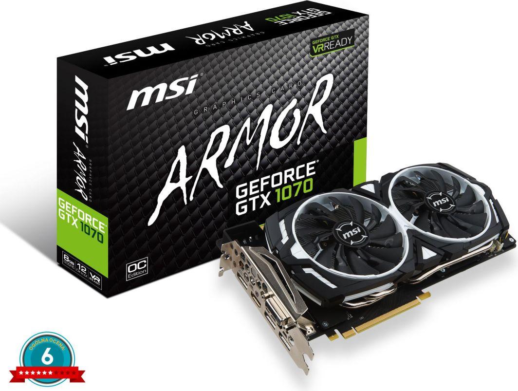 Karta graficzna MSI GeForce GTX 1070 ARMOR 8GB GDDR5 256 Bit HDMI, DVI-D, 3xDP, BOX (GTX 1070 ARMOR 8GB) 1