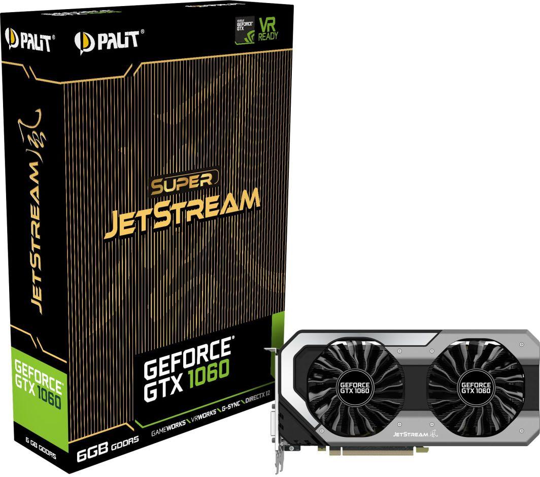 Karta graficzna Palit GeForce GTX 1060 Super JetStream 6GB GDDR5 (192 bit) 3x DP, HDMI, DVI (NE51060S15J9J) 1