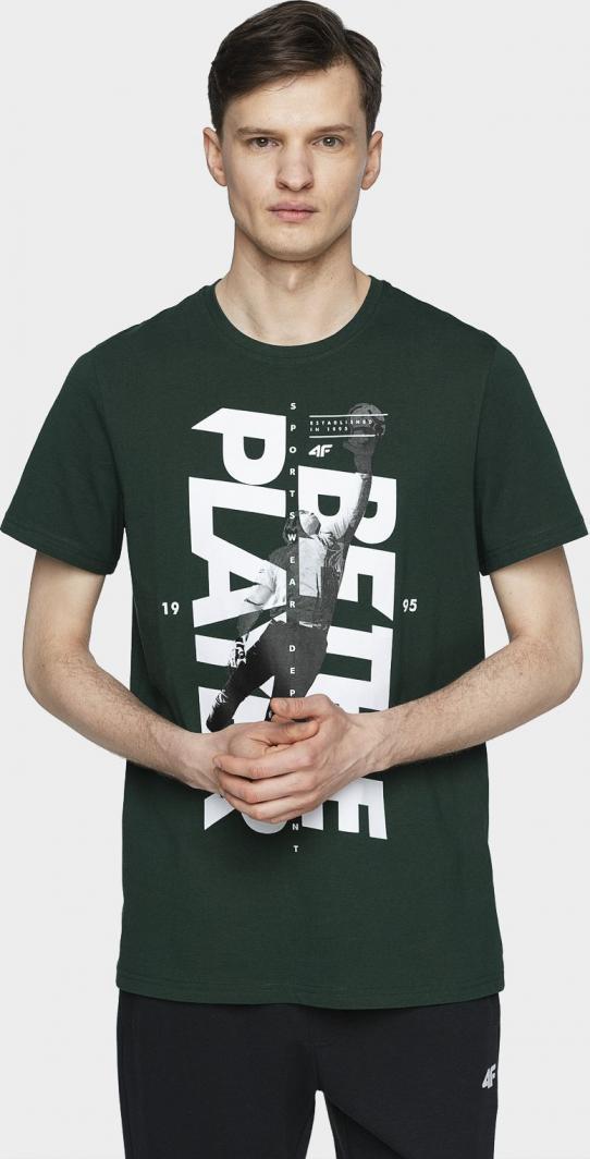 4f T-shirt męski H4L21-TSM012 ciemna zieleń r. L 1