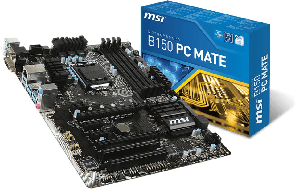 Płyta główna MSI B150 PC MATE, B150, DualDDR4-2133, SATA3, SATAe, HDMI, DVI, VGA,USB 3.1, ATX (B150 PC MATE) 1