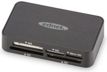 Czytnik Ednet Czytnik Kart Pamięci USB 2.0 All-in-one, Czarny (85055) 1
