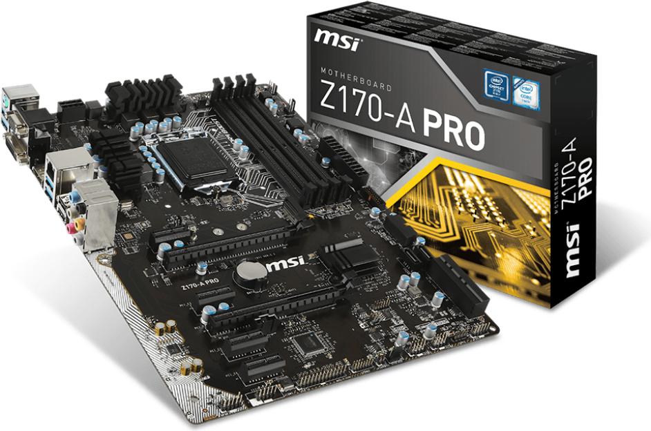 Płyta główna MSI Z170-A PRO, Z170, DualDDR4-2400, SATA3, SATAe, DVI, D-Sub, DP, USB 3.1, ATX (Z170-A PRO) 1
