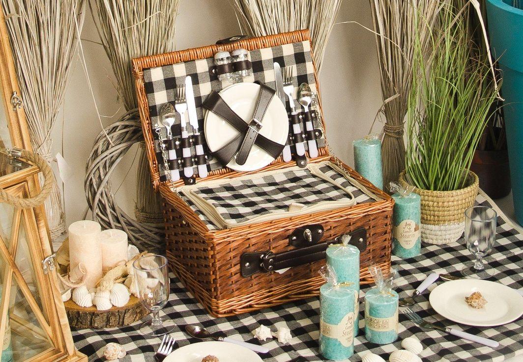 Tajemniczy ogród Kosz piknikowy z wikliny termotorba zestaw 4 osoby 1