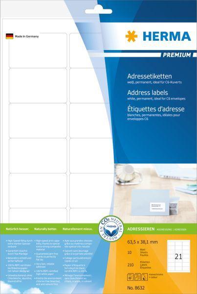 Herma Etykiety Premium 8632, A4, adresowe, białe, 63.5 x 38.1 mm, papier matowy, 210 szt (8632) 1