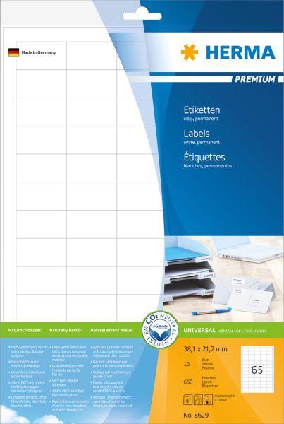 Herma Etykiety Premium 8629, A4, białe, 38,1 x 21,2 mm, papier matowy, 650 szt. (8629) 1