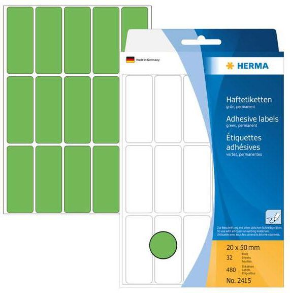 Herma Etykiety samoprzylepne, zielone 20x50 mm 480 Szt. - 2415 1
