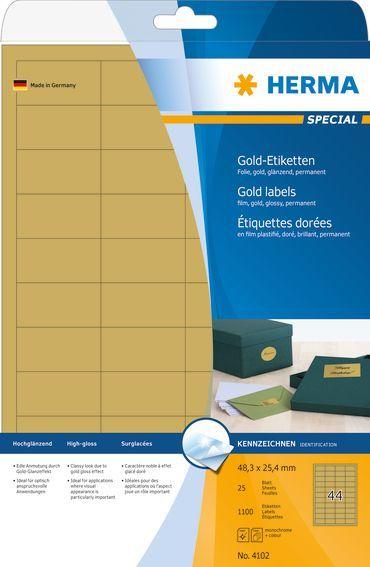 Herma Etykiety foliowe 4102, A4, 48.3 x 25.4 mm, folia złota błyszcząca, 1100 szt (4102) 1