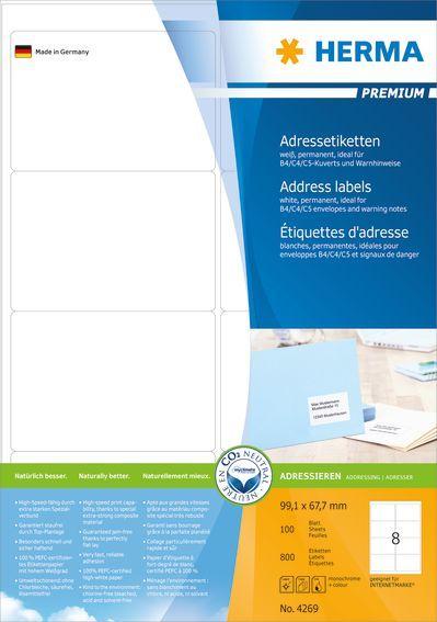 Herma Etykiety adresowe A4, 800 sztuk (4269) 1