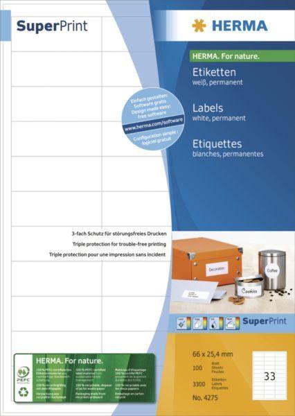 Herma Etykiety Premium 4275, A4, białe, 66 x 25,4 mm, papier matowy, 3300 szt. (4275) 1