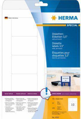 Herma Etykiety dyskietek, biały, 70 x 50,8 mm, papier matowy, 250 sztuk (4353) 1