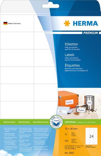 Herma Etykiety Premium A4, białe, papier matowy, 600 szt. (4360) 1