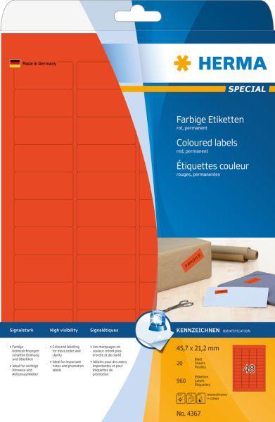 Herma Etykiety kolorowe A4, papier matowy czerwony, 960 szt (4367) 1