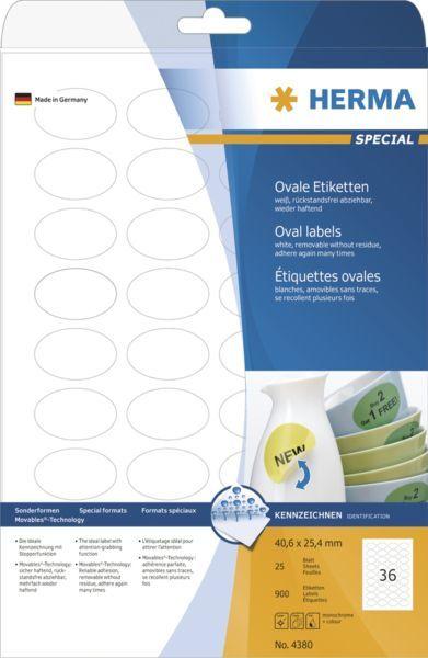 Herma Etykiety odklejalne Movables A4, owalne, białe, papier matowy, 900 szt (4380) 1