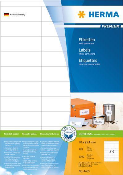 Herma Etykiety Premium A4, białe, papier matowy, 3300 szt. (4455) 1