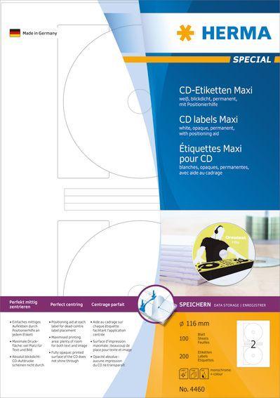 Herma Etykiety samoprzylepne Maxi 4460, A4, na CD, białe, okrągłe, Ø 116 mm, papier matowy, 200 szt (4460) 1