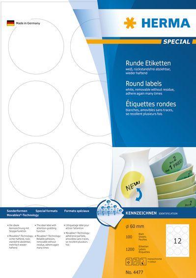 Herma Etykiety odklejalne Movables A4, okrągłe, białe, papier matowy, 1200 szt (4477) 1