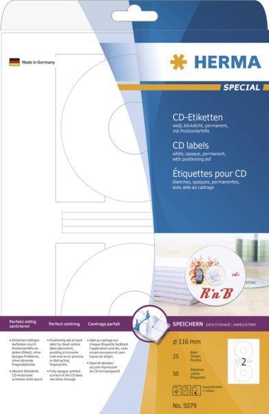 Herma Etykiety samoprzylepne na CD, białe, okrągłe, papier matowy, 50 szt (5079) 1