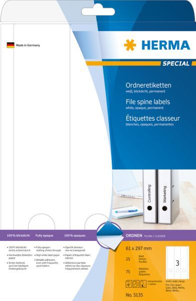 Herma Etykiety Special na segregatory, A4, białe, papier matowy nieprzejrzysty, 75 szt., zaokrąglone narożniki (5135) 1