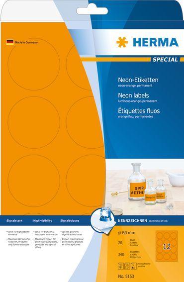 Herma Etykiety kolorowe 5153, A4, okrągłe, 60 mm, papier matowy jaskrawy pomarańczowy, 240 szt (5153) 1