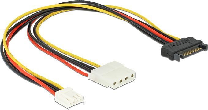 Delock Adatper SATA 15Pin -> Molex 4Pin +1x Floppy, 0.3m (65227) 1