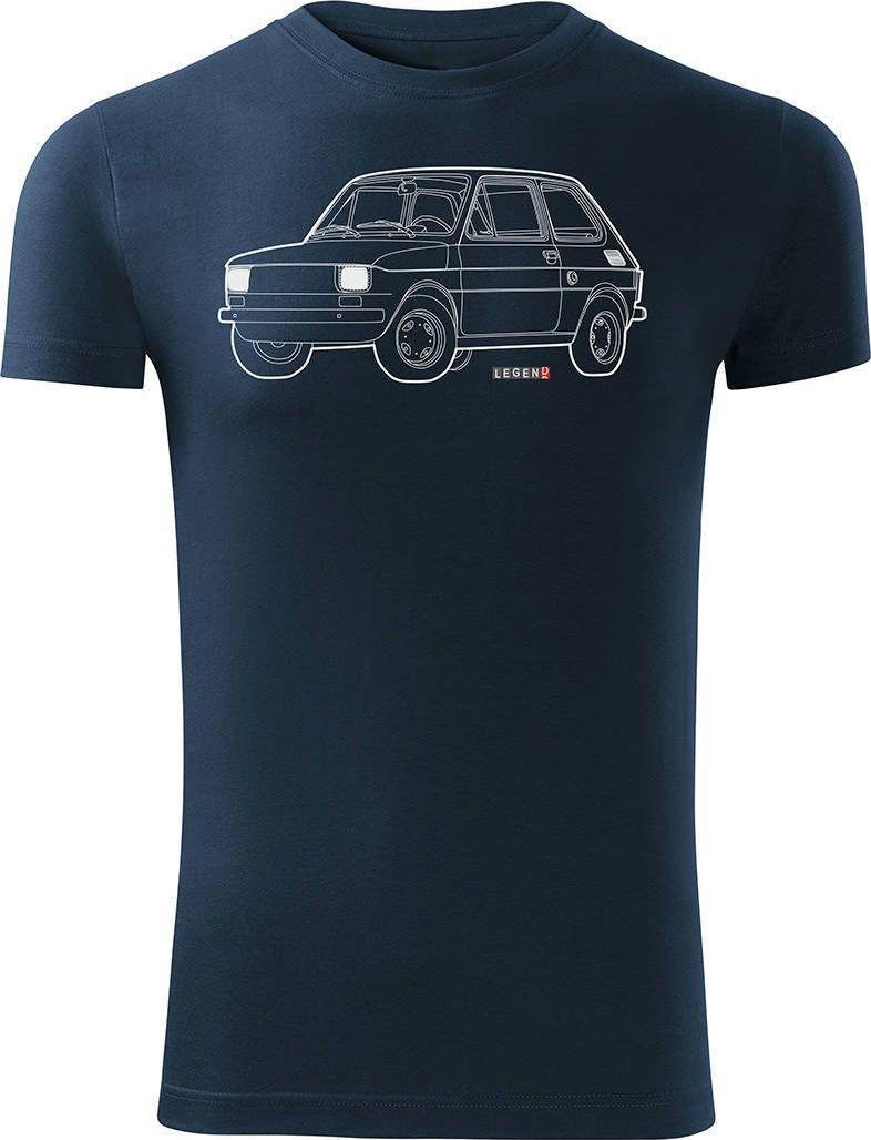 Topslang Koszulka motoryzacyjna z samochodem Fiat 126p męska granatowa SLIM S 1