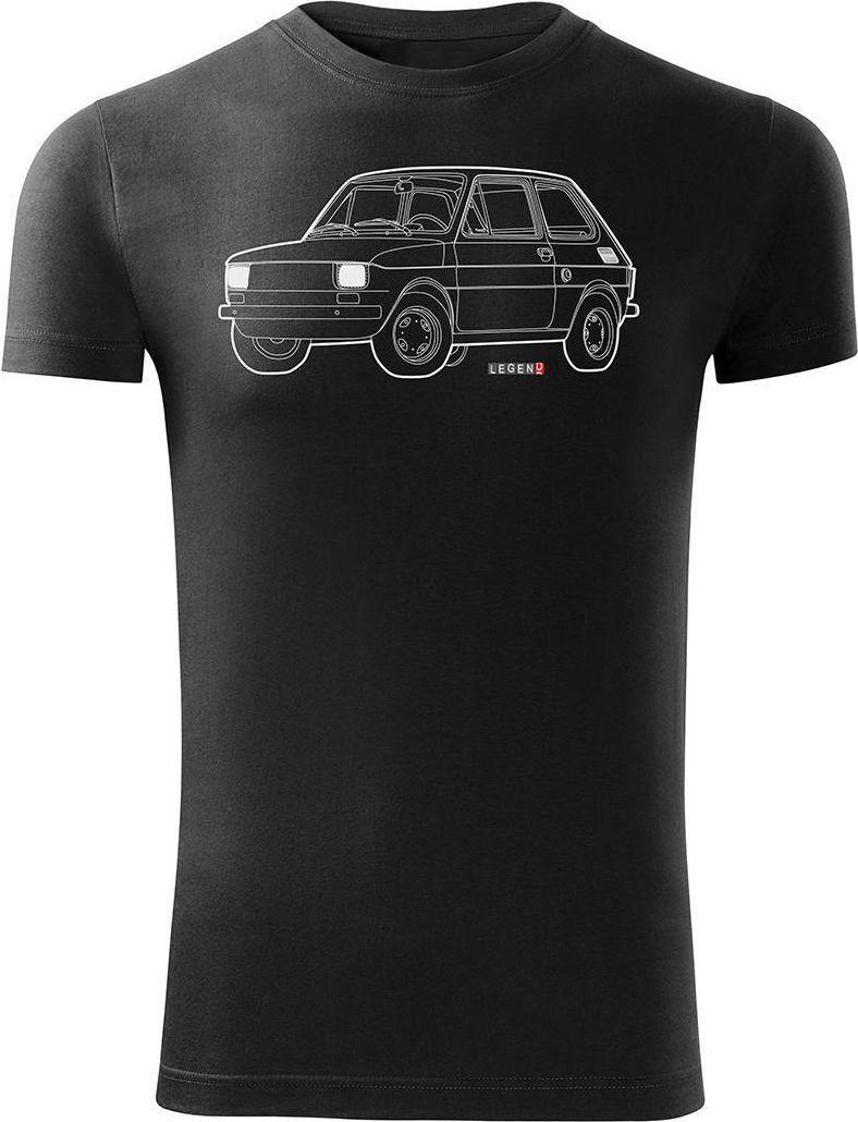 Topslang Koszulka motoryzacyjna z samochodem Fiat 126p męska czarna SLIM L 1