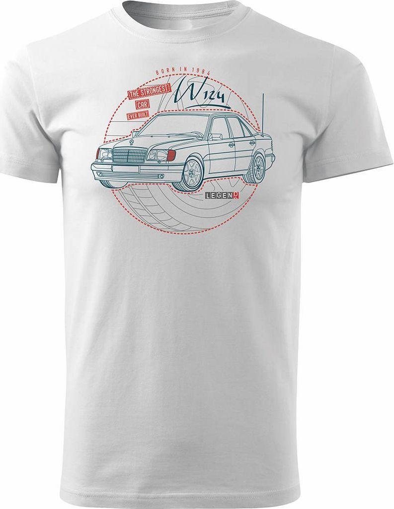 Topslang Koszulka motoryzacyjna z samochodem Mercedes E W124 męska biała REGULAR XL 1