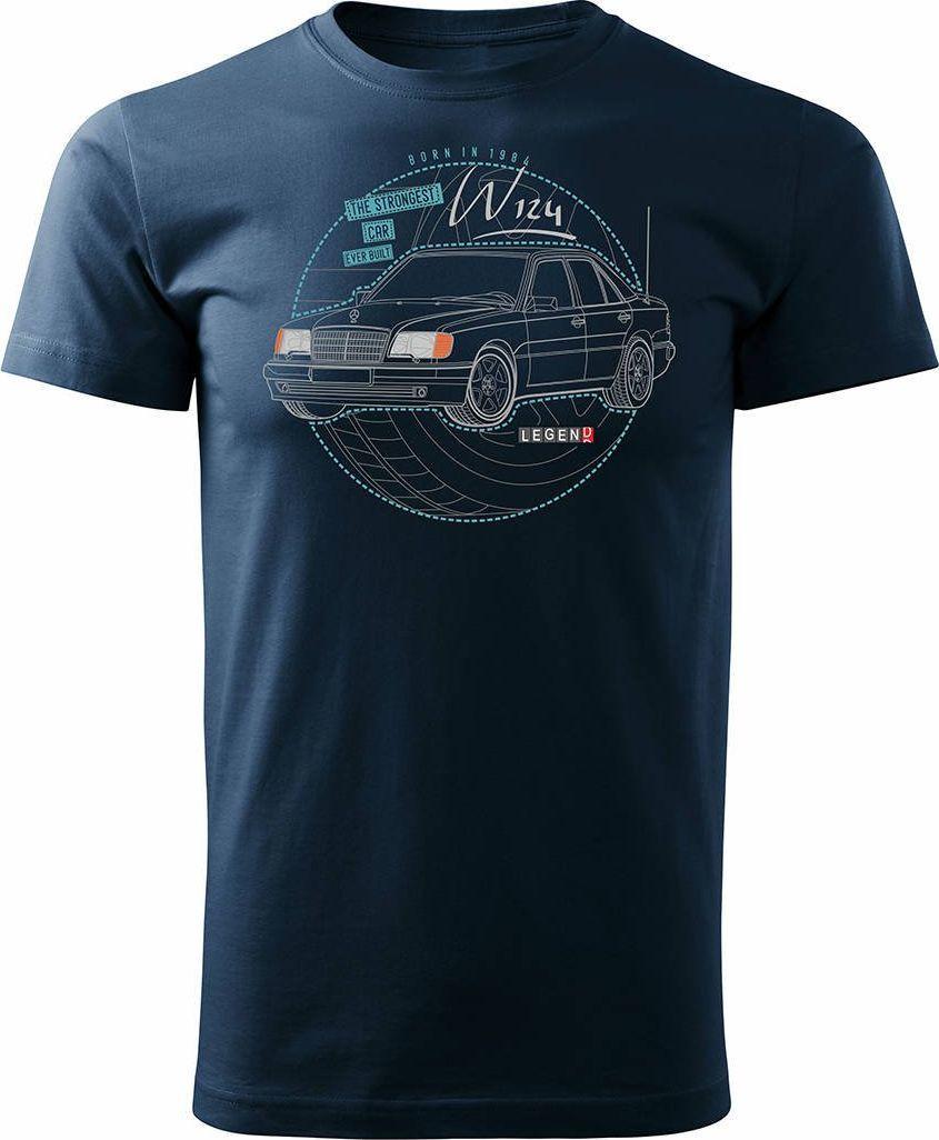 Topslang Koszulka motoryzacyjna z samochodem Mercedes E W124 męska granatowa REGULAR XXL 1