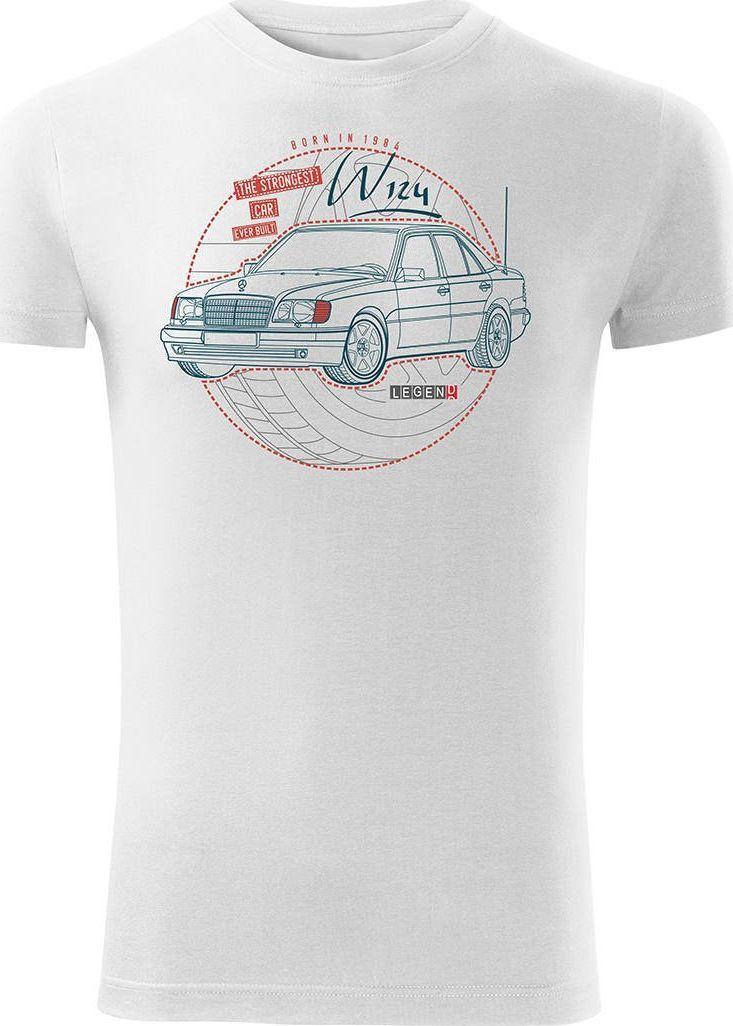 Topslang Koszulka motoryzacyjna z samochodem Mercedes E W124 męska biała SLIM S 1