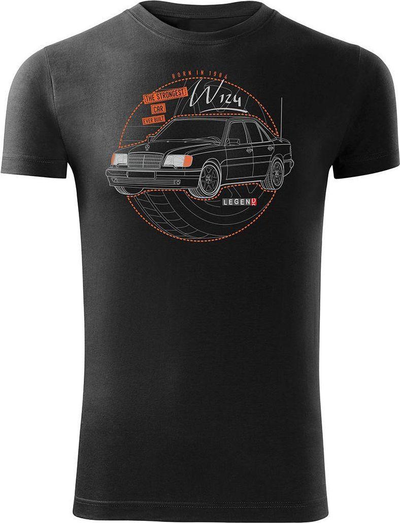 Topslang Koszulka motoryzacyjna z samochodem Mercedes E W124 męska czarna SLIM M 1