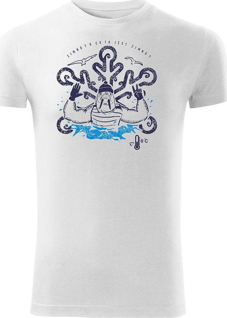 Topslang Koszulka dla morsa z morsem morsowanie męska biała Slim S 1