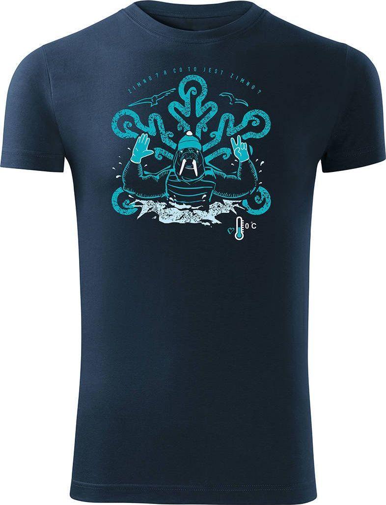 Topslang Koszulka dla morsa z morsem morsowanie męska granatowa Slim L 1