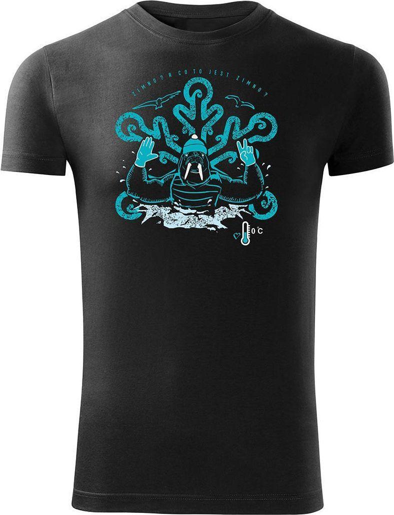 Topslang Koszulka dla morsa z morsem morsowanie męska czarna Slim M 1