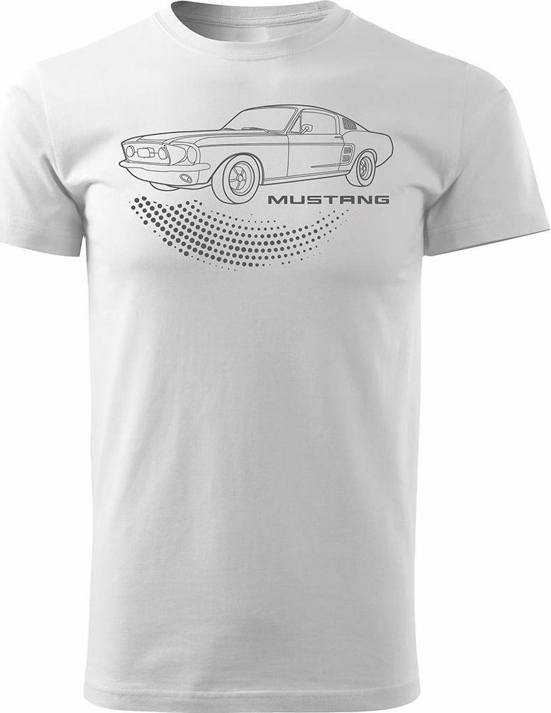 Topslang Koszulka motoryzacyjna z Fordem Mustangiem Ford Mustang męska biała REGULAR S 1