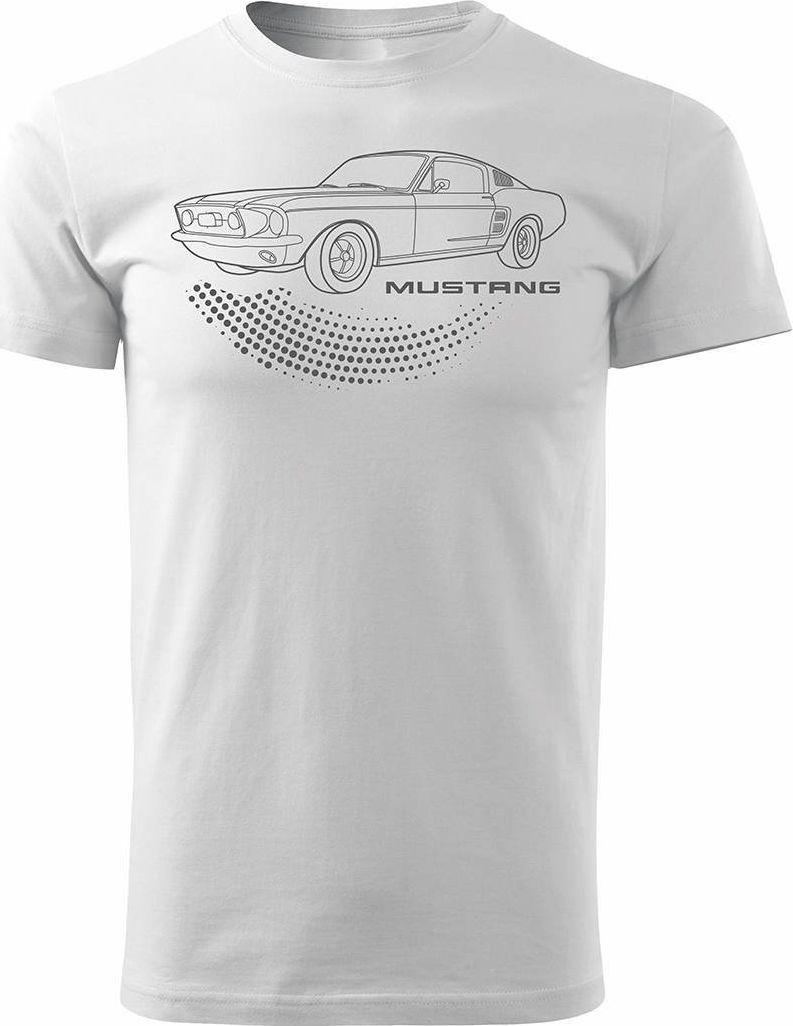 Topslang Koszulka motoryzacyjna z Fordem Mustangiem Ford Mustang męska biała REGULAR XL 1